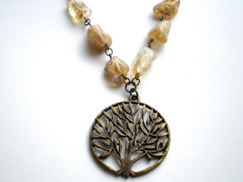 Citrine,Nugget,Tree,of,Life,Beaded,Necklace,Jewelry,Beadwork,tree_of_life,antique_brass,statement_necklace,beaded_necklace,under_25,brown_necklace,nature_necklace,woodland_necklace,cintrine_beads,citrine_necklace,abundance,prosperity,pendants,chain,lobster clasp