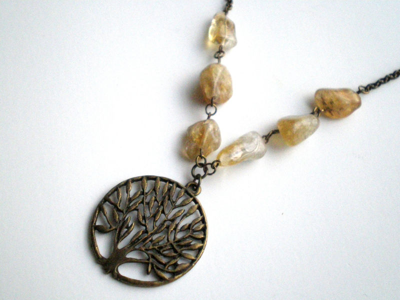 Citrine Nugget Tree of Life Beaded Necklace - product images  of