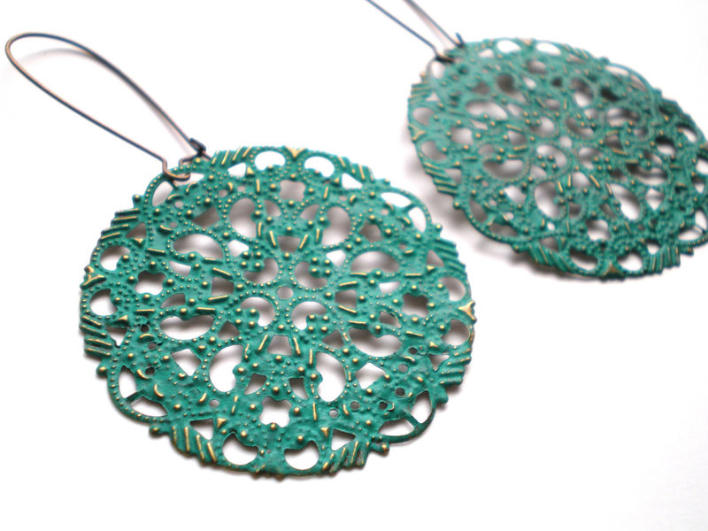 Teal Green Filigree Hand Painted Earrings Women's Fashion Jewelry - product images  of
