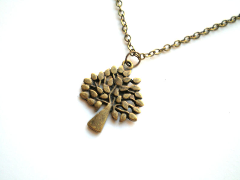Simplicity Antique Brass Tree Necklace - product images  of