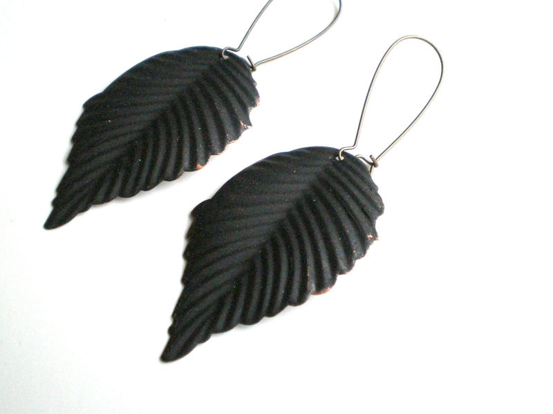 Black Leaf Hand Painted Earrings - product images  of