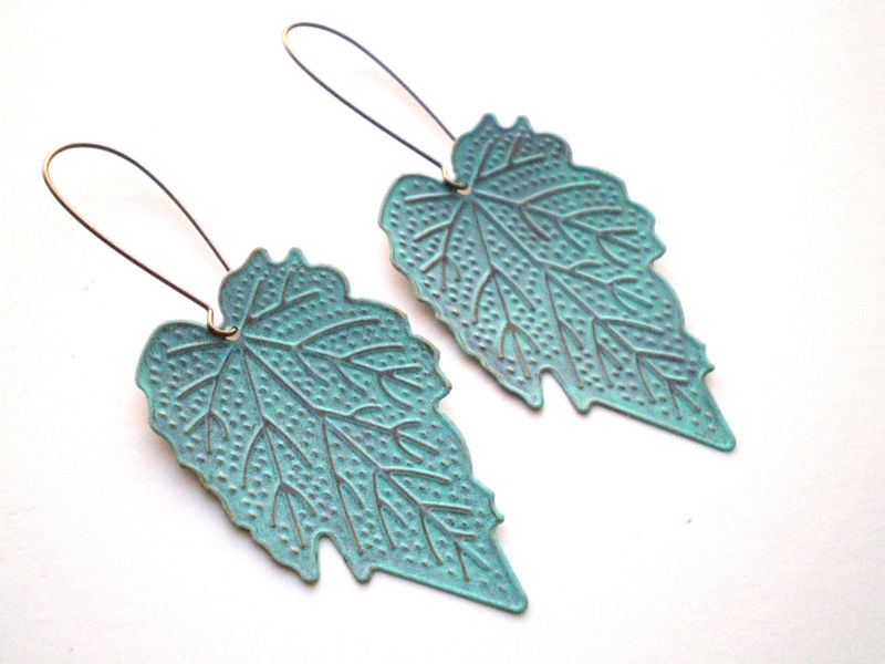 Verdigris Hand Painted Leaf Earrings Mint Green - product images  of