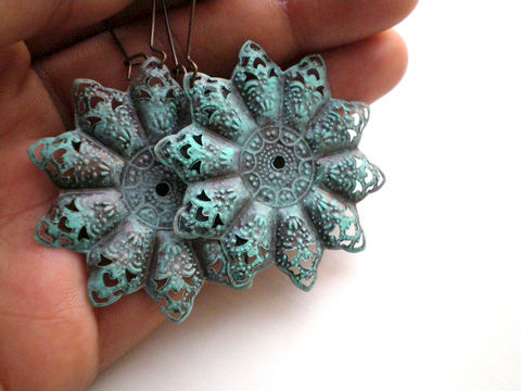 Verdigris,Hand,Painted,Bohemian,Star,Filigree,Earrings,Jewelry,Metal,filigree_earrings,verdigris_earrings,hand_painted,painted_earrings,gypsy_earrings,bohemian_earrings,painted_metal,star_earrings,green_earrings,turquoise_earrings,under_25,blue_earrings,expressionsbycheree,filigrees,copper kidney ear