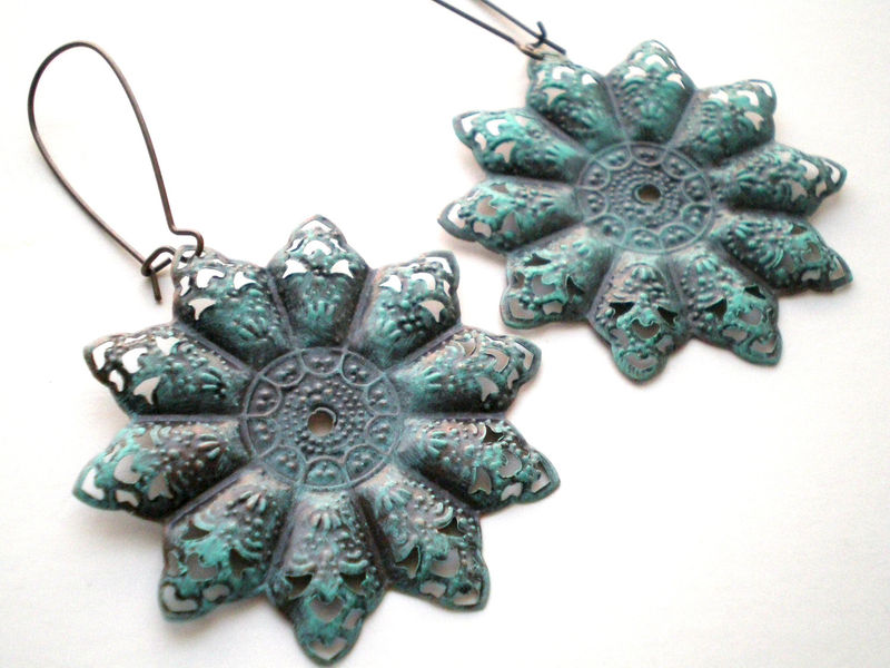 Verdigris Hand Painted Bohemian Star Filigree Earrings - product images  of