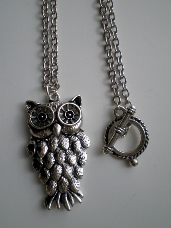 Silver Owl Wisdom Animal Pendant Chain Necklace - product images  of