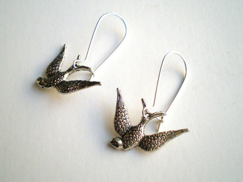 Silver,Swallow,Earrings,Jewelry,Metal,bridesmaid_gifts,antique_silver,silver_plated,love,small_earrings,animal_lover,bird_earrigs,swallow_earrings,sparrow_earrings,animal_earrings,lightweight_earrings,under_25,silver_earrings,owl charms,silver kidney ear wires