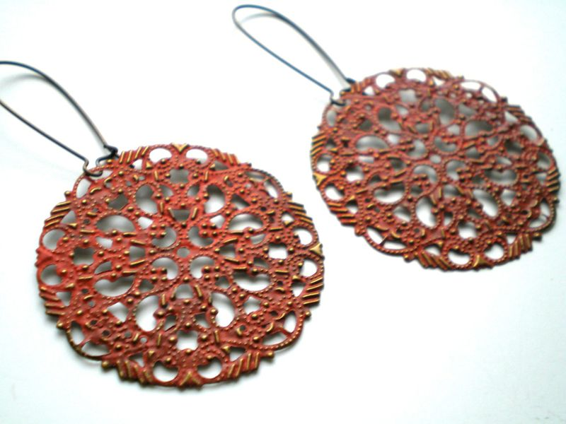 Pumpkin Orange Filigree Hand Painted Earrings Women's Fashion Jewelry - product images  of