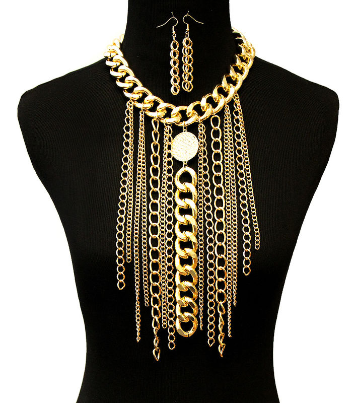 Gold Jewel Link Statement Necklace and Earrings Set - product image