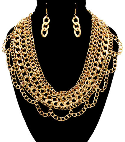 Gold,Multi,Chain,Necklace,and,Earrings,Set,gold necklace, tassel necklace, black dress necklace, long necklace, multi chain necklace, statement necklace, gold layered necklace, fashion accessories, fashion necklace set, women's fashion, gold costume necklace set