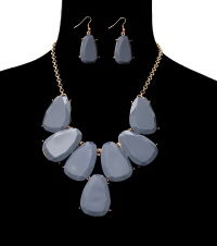 Grey Jasmine Necklace and Earrings Set - product images  of