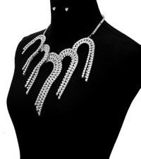Silver Box Tassel Necklace and Earrings Set - product images  of