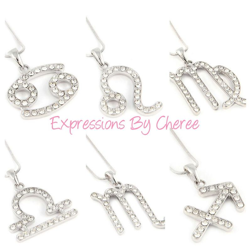 Silver Rhinestone Zodiac Necklace - product images  of