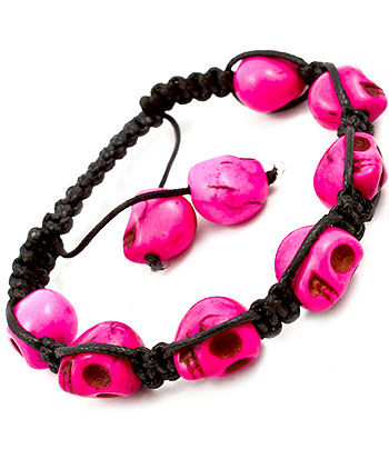 Pink,Skull,Adjustable,Bracelet,bracelet, adjustable bracelet, pink skulls, beads, celebrity inspired bracelet