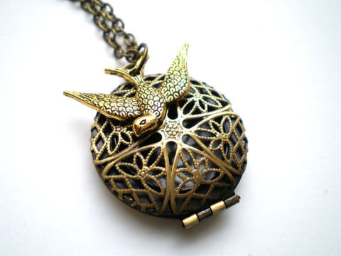 Antique,Gold,Locket,and,Swallow,Necklace,-Fly,Above