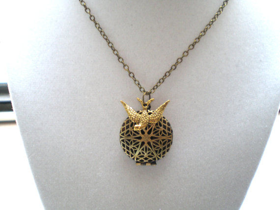 Antique Gold Locket and Swallow Necklace -Fly Above - product images  of