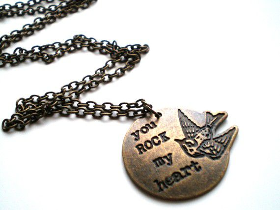 Brass Stamped Charm Necklace- You Rock My Heart - product images  of