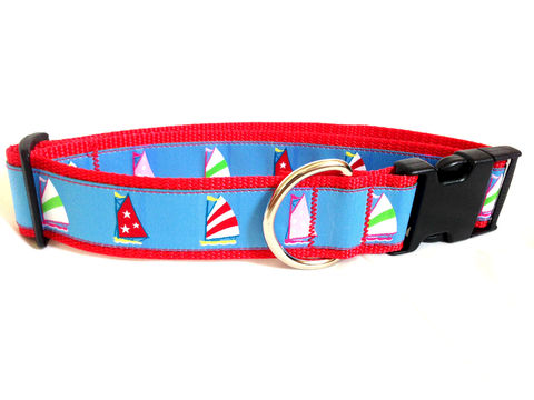 The,Preppy,Pacific,Sailboat,Dog,Collar,sailing, preppy, unique, fun, bright, feminine, masculine, stylish