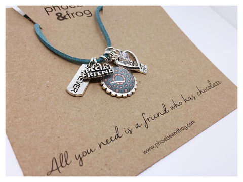 For,Chocolate,Lovers.,friend, necklace, personalised, chocolate, card, sentiment, charms