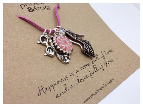 For,Books,and,Shoe,Lovers.,friend, necklace, personalised, shoes, card, sentiments, books, charms