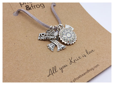 For,a,those,who,love,to,Knit.,friend, necklace, personalised, knit, card, sentiments, charms