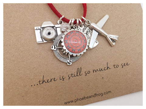 For,those,who,love,adventures.,friend, necklace, personalised, card, sentiments, charms, travel, adventure