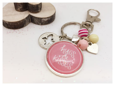 Hugs,&,Kisses,Keyring,keyring, silver, pink, hugs, kisses