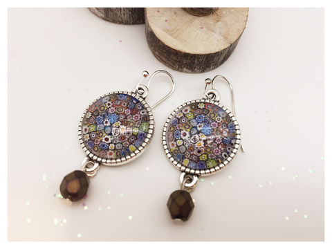 Millefiori,Earrings,earrings, silver, hook earrings, millefiori, colourful