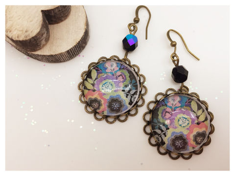 Black,Flower,Earrings,earrings, bronze, hook earrings,