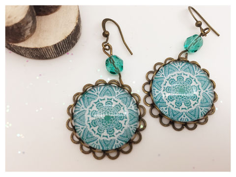 Turquoise,Lace,Earrings,earrings, bronze, hook earrings, turquoise, lace