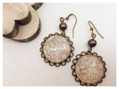 Cream,Earrings,earrings, bronze, hook earrings, cream, flower, delicate