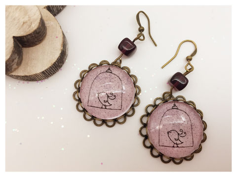 Bird,on,a,Line,Earrings,earrings, bronze, hook earrings, bird, pink, purple