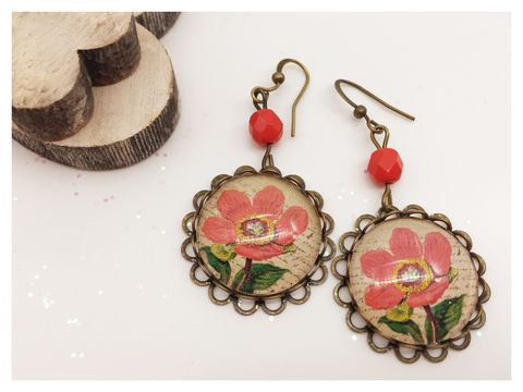 Vintage,Flower,Earrings,earrings, bronze, hook earrings, vintage, flower