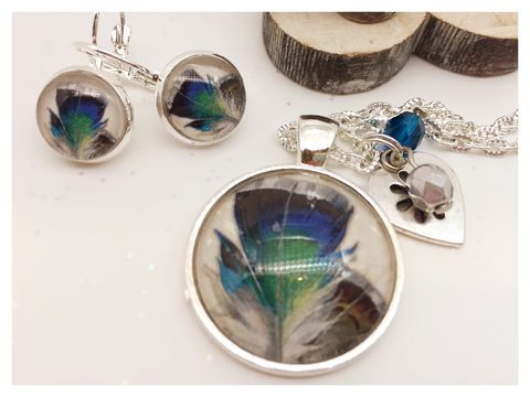 Blue,Feathers,Set,bird, necklace, pendant, modern, colourful, feather, blue, set, silver