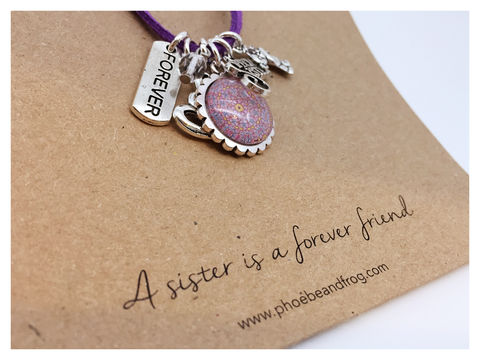 For,a,special,sister.,sister, necklace, personalised, special, card, sentiment, charms, heart, love