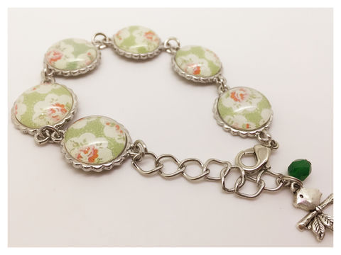 Pretty,Wrist,bracelet, flowers, cabochon, silver, shabby chic, country