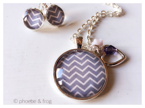 Blue,Chevron,Set, necklace, pendant, modern, colourful, blue, set, silver