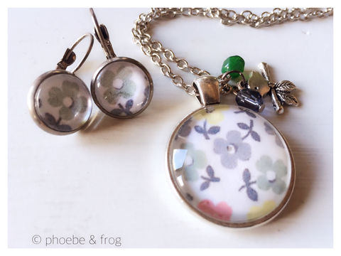 Spring,Flowers,Set,flowers, necklace, pendant, modern, colourful, spring, set, silver