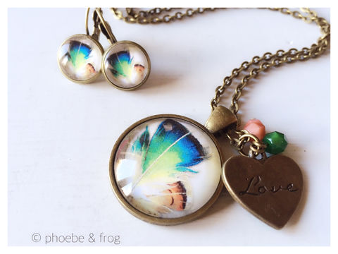 Bronze,Feathers,Set,feathers, necklace, pendant, modern, colourful, birds, set, bronze
