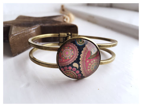 Black,Paisley,Cabochon,Bangle,bangle, bronze, black, paisley