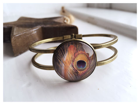Peacock,Cabochon,Bangle,bangle, bronze, peacock, orange
