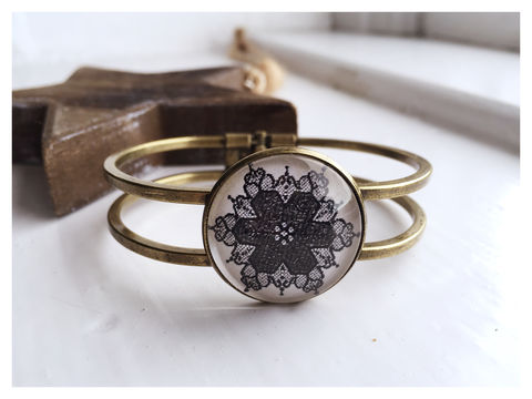 Black,Lace,Cabochon,Bangle,bangle, bronze, peacock, orange