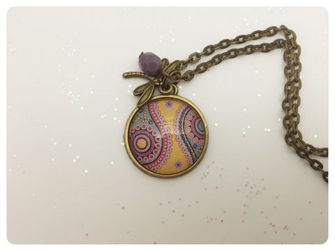 Paisley,Pendant,necklace, pendant, modern, colourful, cabochon, yellow, paisley