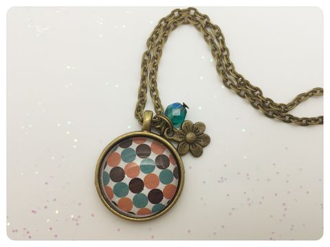 Brown,Dots,Pendant,necklace, pendant, modern, colourful, cabochon, retro, dots