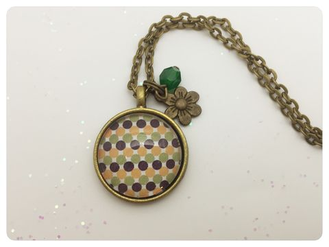 Green,Dots,Pendant,necklace, pendant, modern, colourful, cabochon, retro, dots