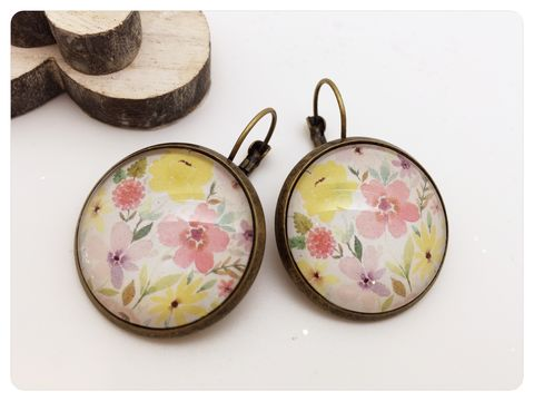 Spring,Flowers,Earrings,earrings, modern, contemporary, flowers, bronze, spring