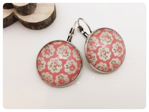 Chic,Earrings,earrings, modern, shabby chic, flowers, silver