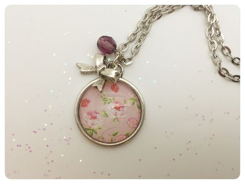 Pink,Garden,Pendant,necklace, pendant, modern, colourful, cabochon, pink, shabby chic
