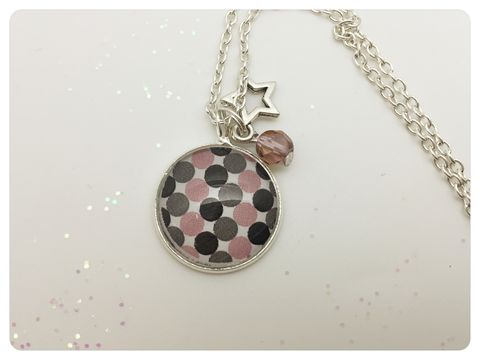 Pink,Dots,Pendant,necklace, pendant, modern, colourful, cabochon, pink, black, grey, dots
