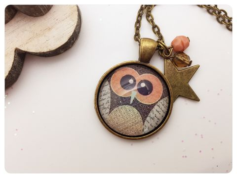 Owl,Pendant,necklace, pendant, modern, colourful, cabochon, owl