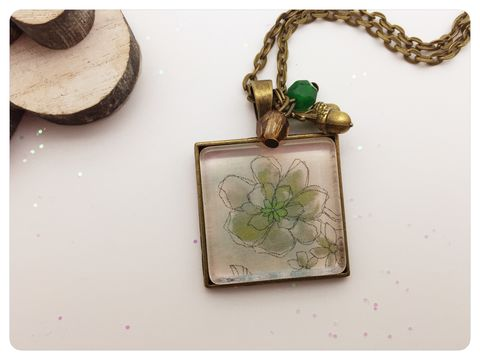 Green,Watercolour,Flower,Pendant,necklace, pendant, modern, colourful, cabochon, flowers, watercolour